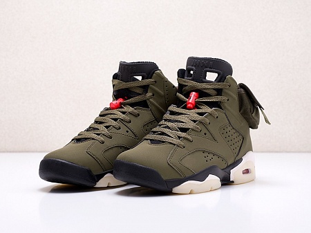 Кроссовки Nike x Travis Scott Air Jordan 6 (зеленый) - изображение №2