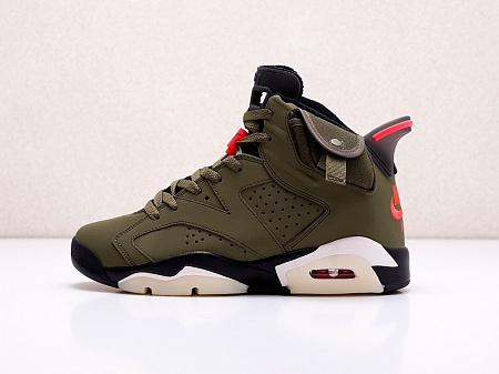 Кроссовки Nike x Travis Scott Air Jordan 6 (зеленый) - изображение №5