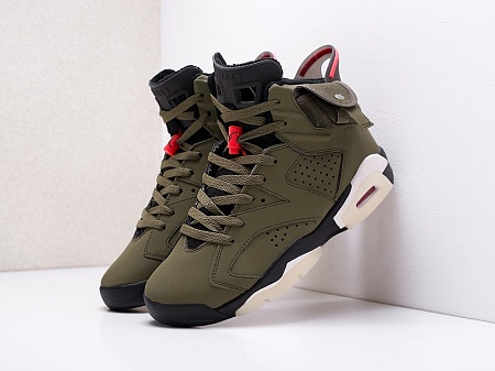 Кроссовки Nike x Travis Scott Air Jordan 6 (зеленый) - изображение №1